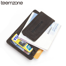 Buy teemzone Men's Crazy Horse Genuine Credit Card ID Holder Strong Magnet Money Wallet Card Purse Black Card Holder K308 for $16.00 in AliExpress store