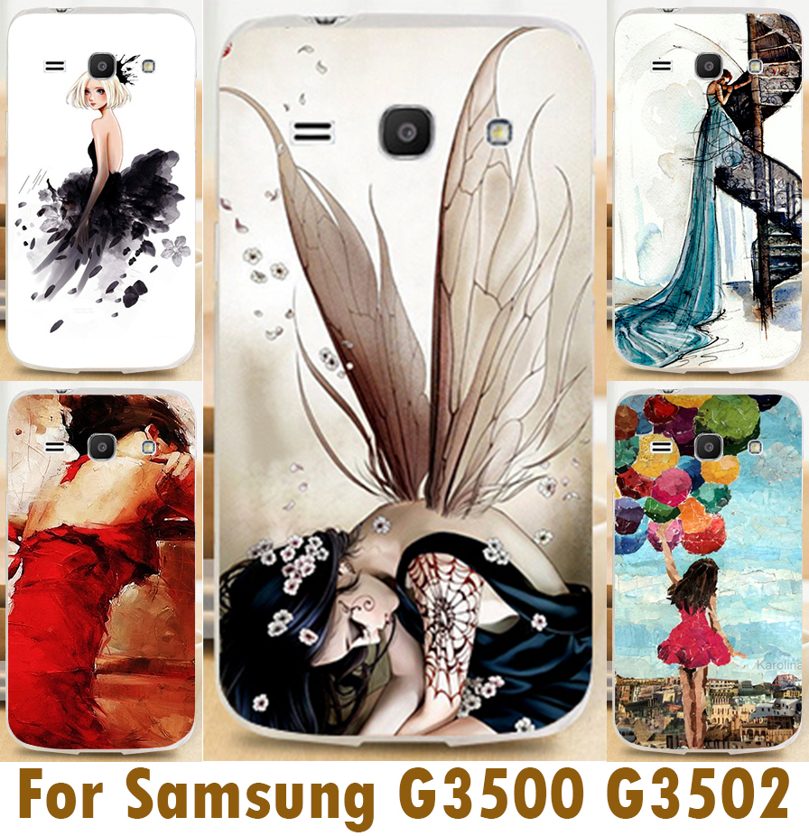 Cartoon Girl Cases For Samsung Galaxy Core Plus G350 G3500 G3508 G3502U 4.3 inch SM-G350 G3509 Trend 3 G3502 Cover Cases Shell(China (Mainland))