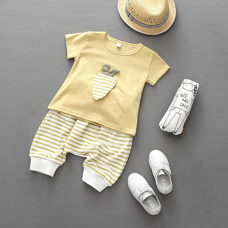 2016 summer style children boys clothing set baby girls sports carrot T shirt + striped harem pants costume kids clothing suit(China (Mainland))
