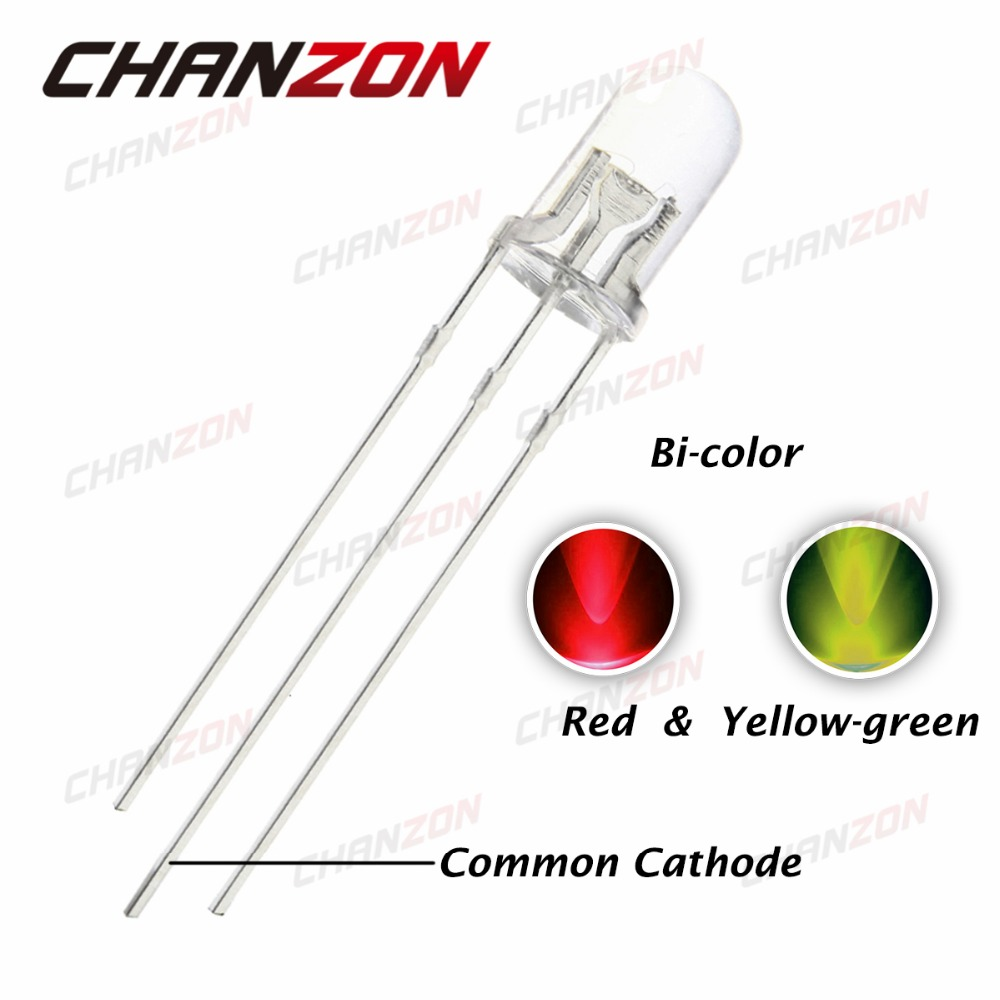 100pcs 5mm Common Cathode LED Diode Light Red And Yellow Green Clear Lens 5 mm Bi-Color Round Light-Emitting Diode LED Lamp(China (Mainland))
