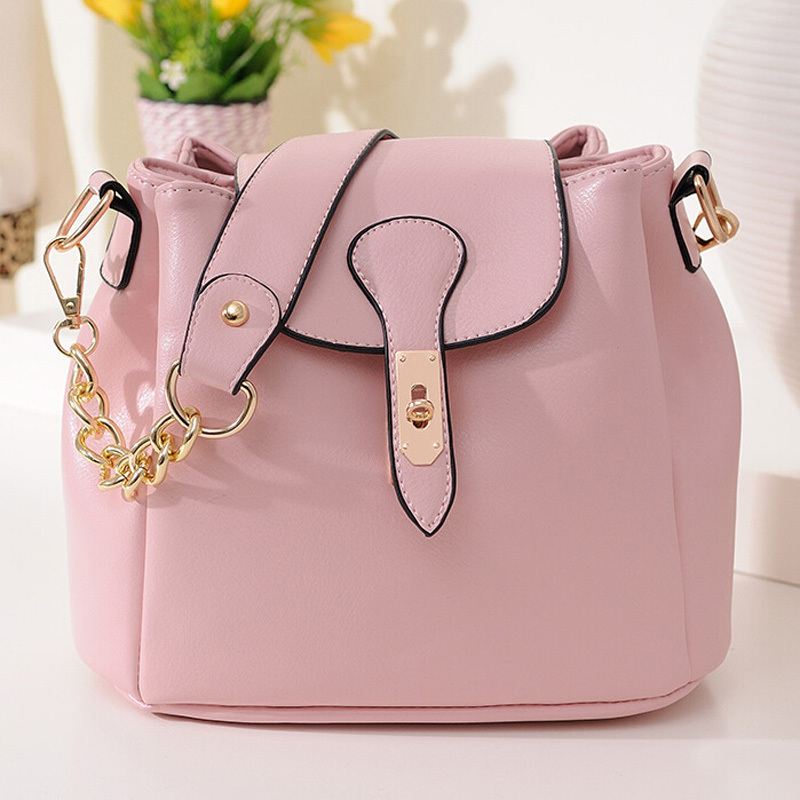 Pretty Girls Genuine Leather Small Shoulder Bags Pink Bucket Ladies Tote Bags Versatile Women Shopper Cabas With Two Straps Use(China (Mainland))