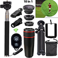 10in1 Phone Camera Lenti 8x Telescopie Lenses Fish eye Lens Wide Angle MacroTripod For iPhone Samsung