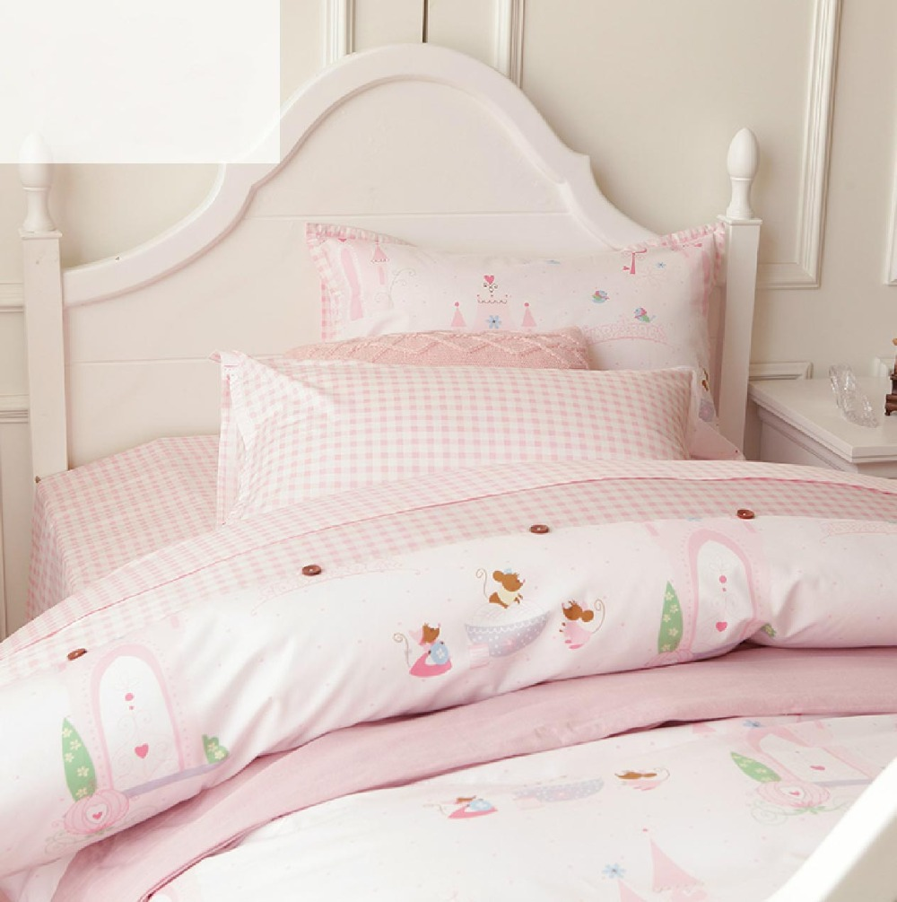 Cute cartoon pink single bed set twin teenage kids girl plush cotton comfortable home textiles - Cute teen girl beds ...