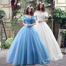 Vivian's Bridal New Movie Deluxe Adult Cinderella Wedding Dresses Blue Cinderella Ball Gown Wedding Dress Bridal Dress 26240(China (Mainland))