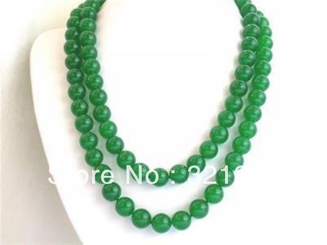 """Free shopping new 2014 diy Charming! 10mm green Necklace 35"""" GE5332(China (Mainland))"""