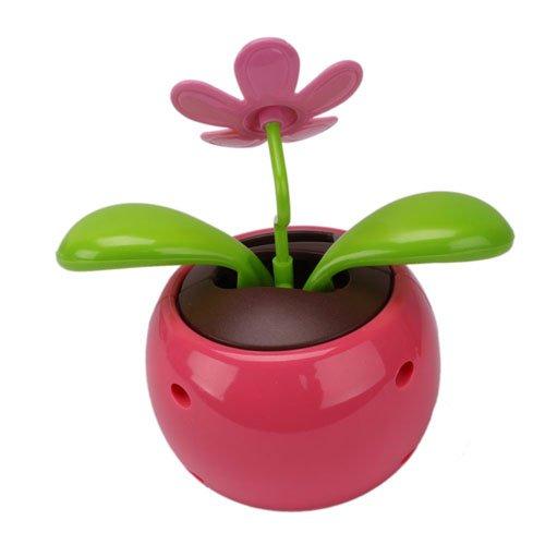Car Rose-red Cute Flip Flap Swing Solar Flower,Free Shipping(China (Mainland))
