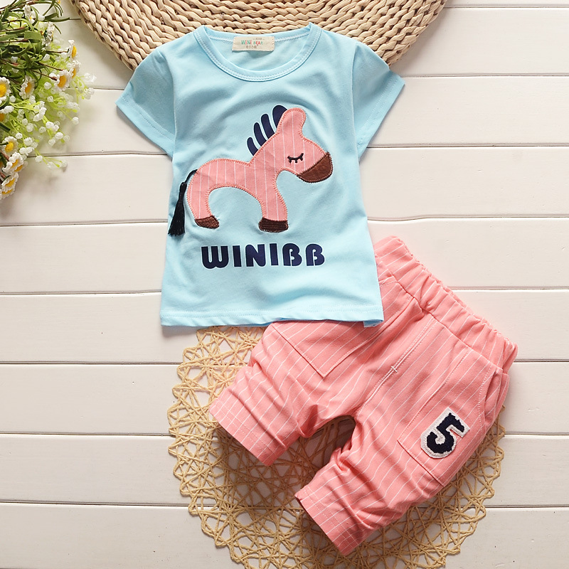 Fashion 2016 Summer Children Clothing Sets Toddler Boys Clothes Boys Cartoon Horse T-shirt Striped Pants Suits Kids Clothes sets(China (Mainland))