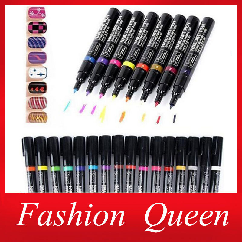 1pc 16colors Pro Nail Art Pen Polish Painting Dot Drawing for UV Gel Design DIY Beauty Manicure Tools(China (Mainland))