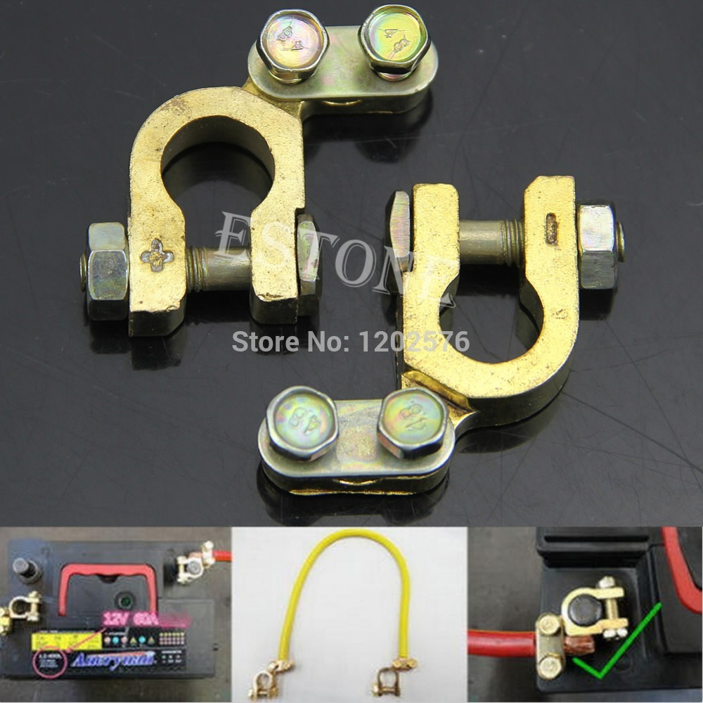 Free Shipping Auto Car 2Pcs Replacement Battery Terminal Clamp Clips Brass Connector Hot Sell(China (Mainland))