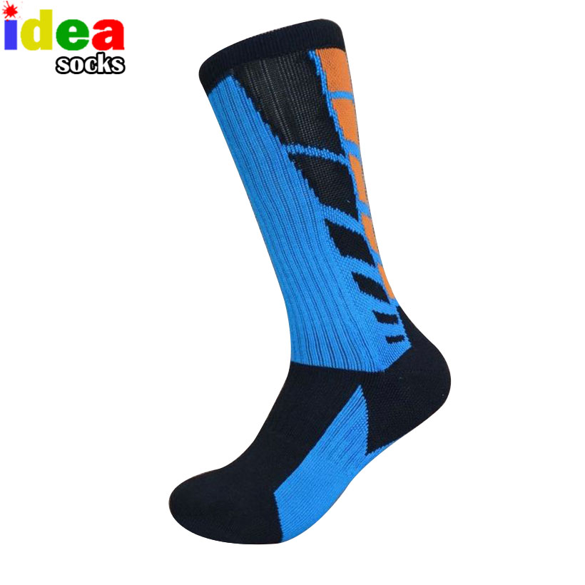 high quality professional sports cool big size socks cotton elastic thick towel bottom basketball athletic football knee sox(China (Mainland))