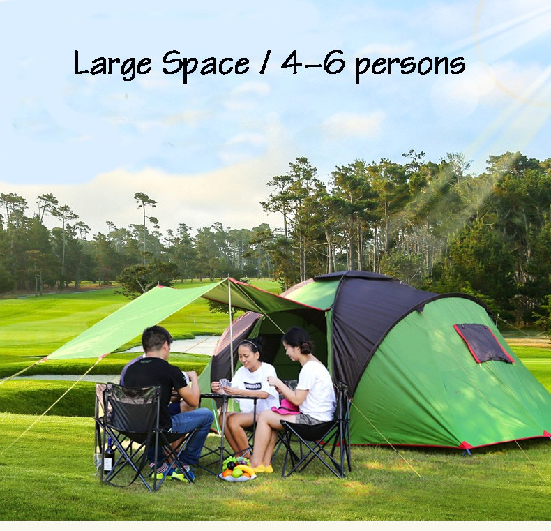 2015 Hewolf 4-6 Person UV Waterproof 2 Bedrooms 1 Living Room 2 layer hiking party family fishing beach outdoor camping tent