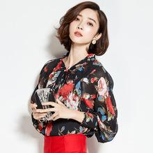 1 pcs Ladies plus size chiffon blouses tops 2016 Spring Fashion chiffon prints bowknot Primer shirt Casual Retro shirts Women