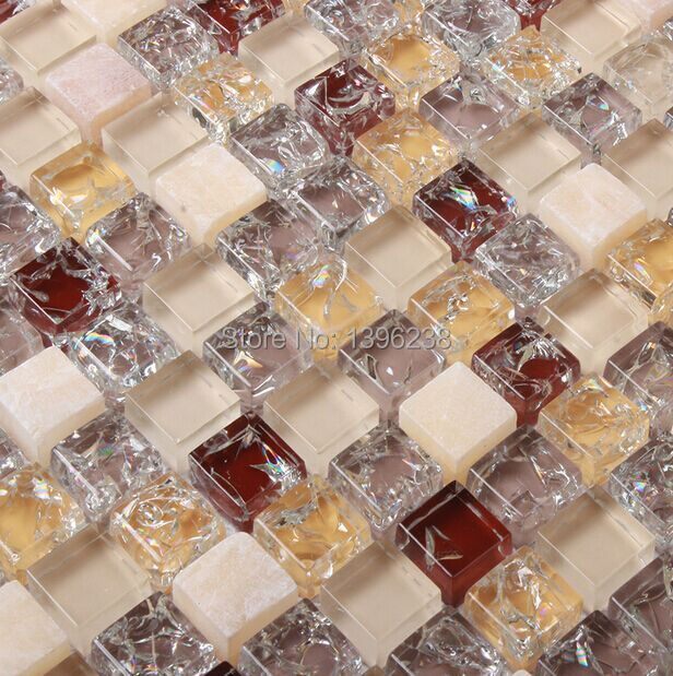 LSICG03,BROWN GLASS MOSAIC TILES,ICE CRACK GLASS MOSAIC TILES,GLASS MARBLE MOSAIC TILES(China (Mainland))