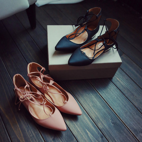 2016 Autumn Brand Women Gladiator Roman Strappy Lace Up Bandage Cut Out pointy toe nubuck Leather oxfords Ballet Flats(China (Mainland))