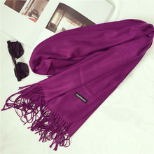 Buy Shawls Scarves Cashmere Cape Plain Winter Warm Scarf Luxury Brand Pashmina Soft Scarves Female Tassel Cashmere Women Scarf for $6.99 in AliExpress store