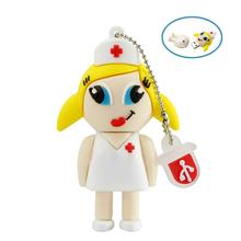 Real capacity Cute cartoon flash memory silicone white nurse usb flash drive 4gb 8gb 16gb 32gb pendrive usb memory stick(China (Mainland))