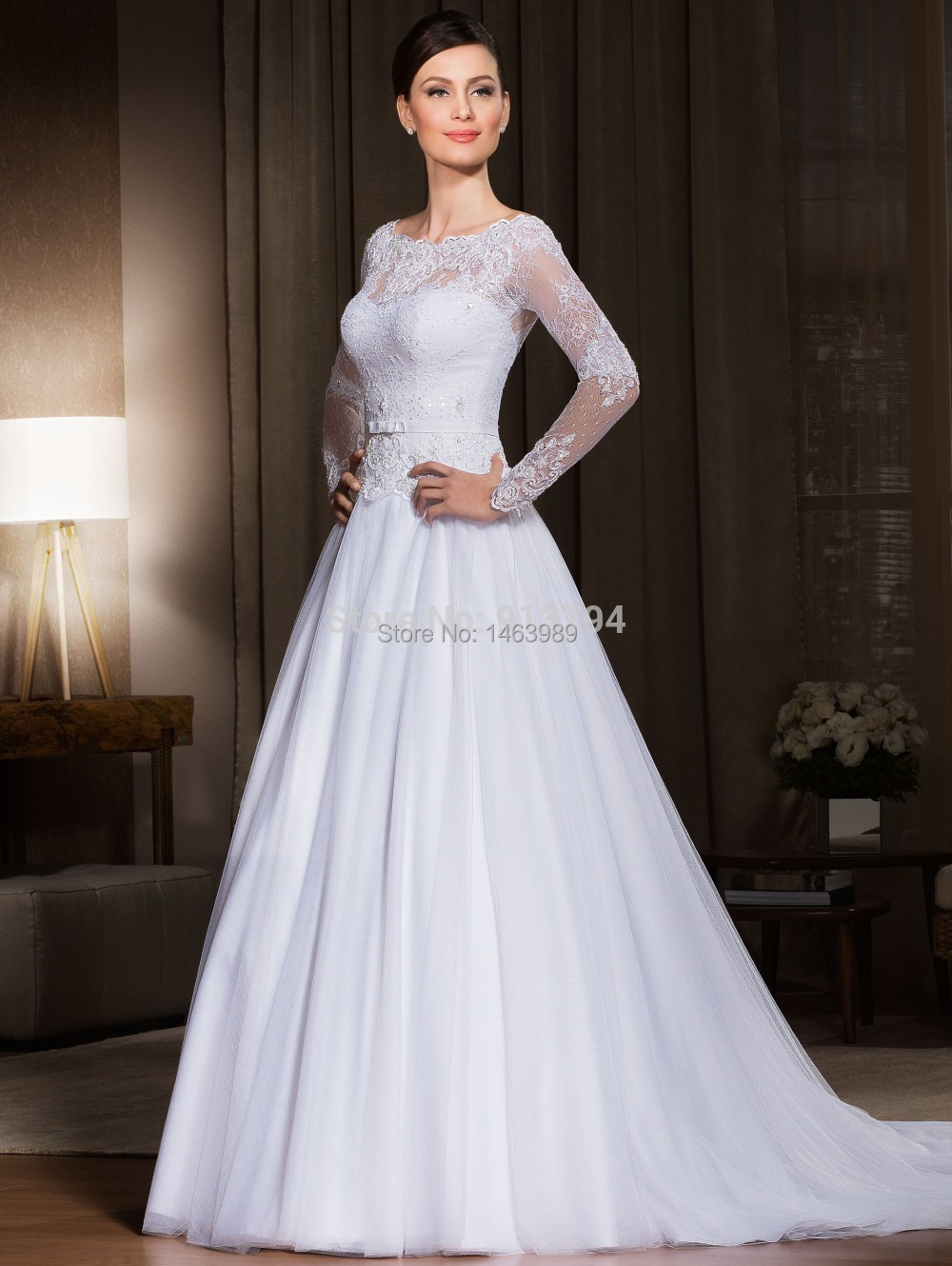 Plus size wedding dresses long sleeves a line tulle for Long sleeve plus size wedding dress
