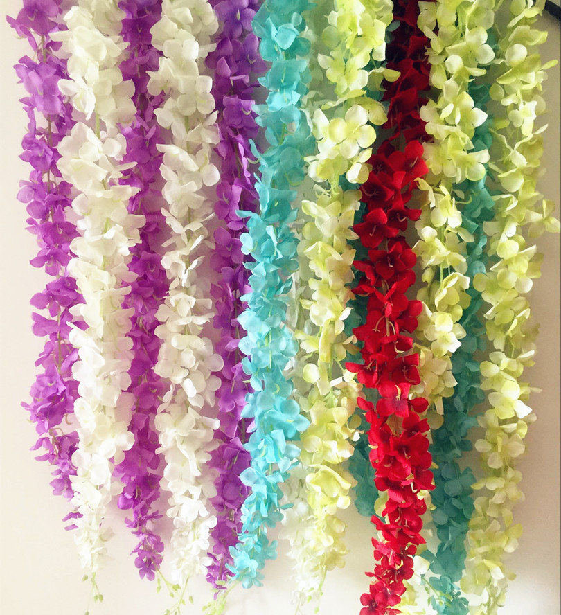 6pcs Artificial Hydrangea Cherry Flower Rattans 175cm Wisteria Garlands Silk Sakura Vines 5 Colors for Wedding Floral Decoration(China (Mainland))