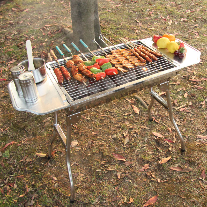 Stainless steel Portable Folding Charcoal BBQ Grill for 3 - 4 Person Outdoor Camping Barbecue Roasting Picnic Family Party Grill(China (Mainland))