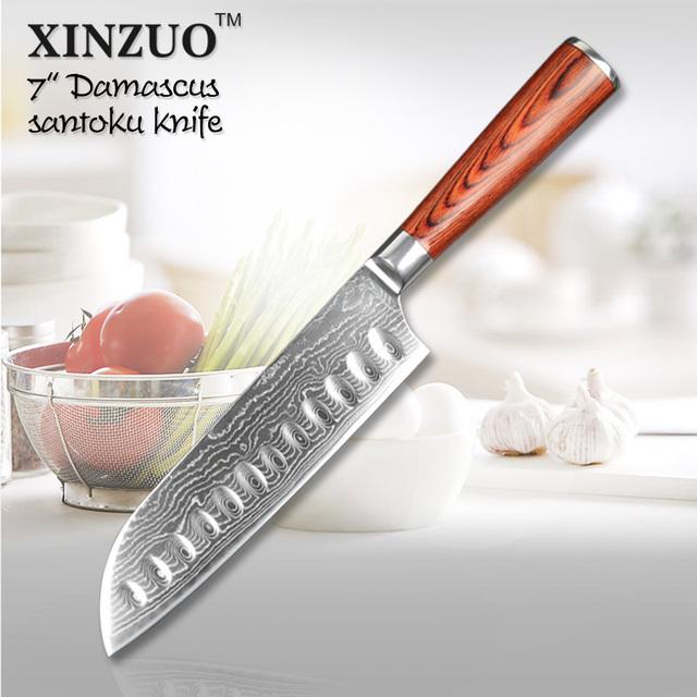 xinzuo 7 quot inch japanese vg 10 damascus steel kitchen folded steel kitchen knives kin knives
