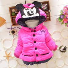 2015 Winter baby girl clothes Thicken Outerwear Cartoon Coat Cotton-padded Baby boy Clothes 0-2T Hooded parka snowsuit jackets(China (Mainland))