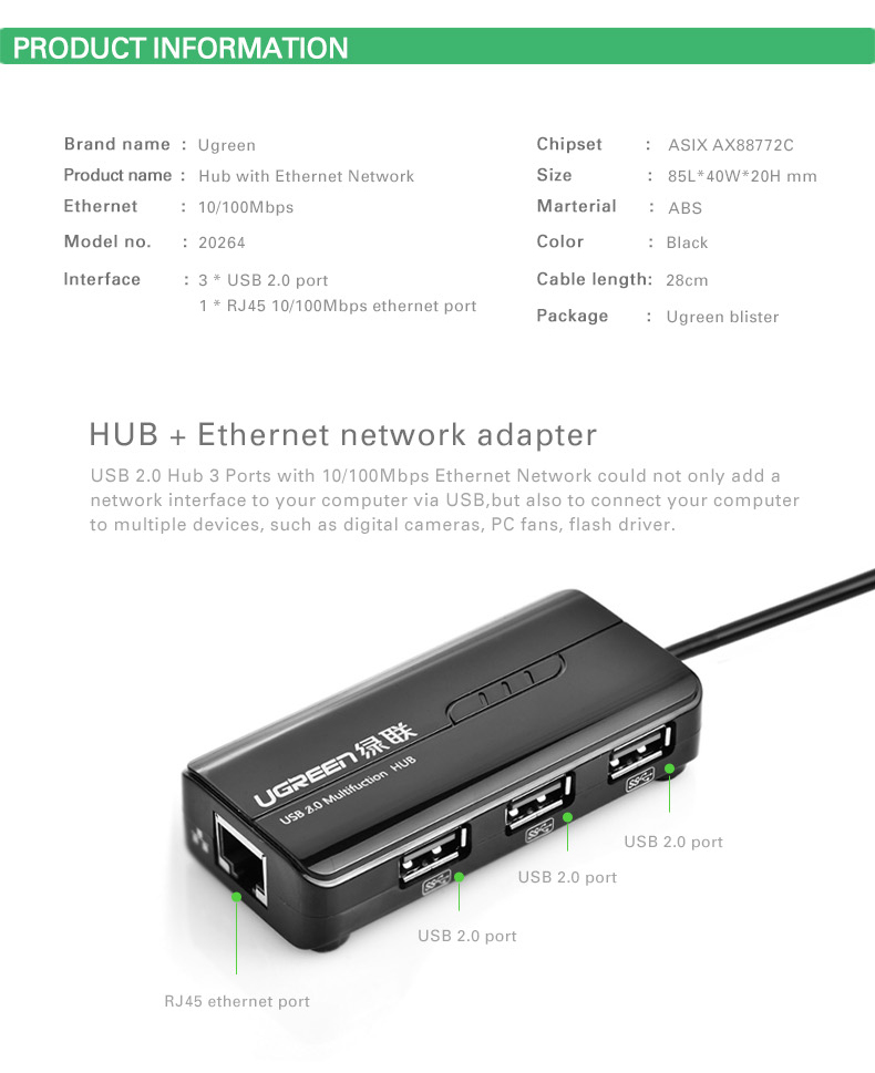 ugreen usb ethernet adaptateur 3 ports hub usb2 0 avec rj45 10 100mbps lan c ble ebay. Black Bedroom Furniture Sets. Home Design Ideas