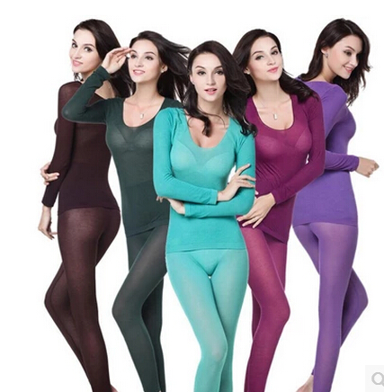 winter new 37 degrees thermostatic Long Johns ultra-thin fever fiber thermal underwear seamless body thermal underwear