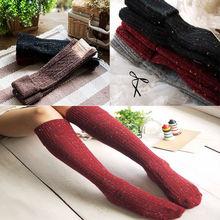 Fashion Warm Women Turn Up Rib Dot Wool Long Knee High Winter Boot Socks CN0(China (Mainland))