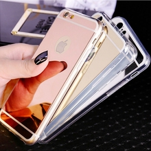 Fashion Luxury Ultra Slim Soft Case For Iphone 5S Clear Silicone Edge + Shinny Mirror Back Cover For Iphone 5 5S SE Phone Cases(China (Mainland))