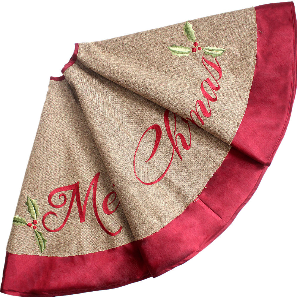 """""""Merry Christmas"""" Letters Embroidery Burlap Look Like Christmas Tree Skirt Extra Large 36""""/50"""" Diameter Red Border P3673(China (Mainland))"""