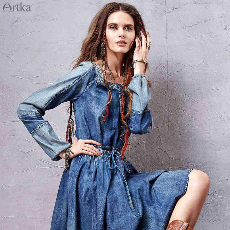 Artka autumn dress 2015 women 100% cotton dress denim dress LN10257C(China (Mainland))
