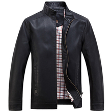 New Spring Autumn High-grade Quality Leather Jacket Men Casual Stand Collar Jaqueta Couro Color Black/Coffee Big Size 4XL   218(China (Mainland))