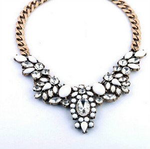 Wholesale 2015 Vintage Jewelry Exaggerated Resin Alloy Chain Choker Collar Necklace Women Jewelry Statement Necklaces Pendants(China (Mainland))