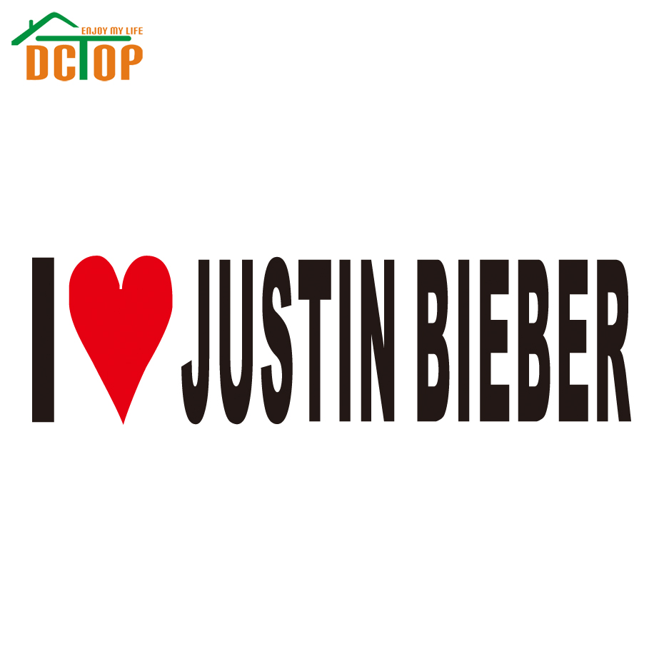 I Love Justin Bieber Stickers Heart Singer Song Album Decal Vinyl Bumper Cars(China (Mainland))