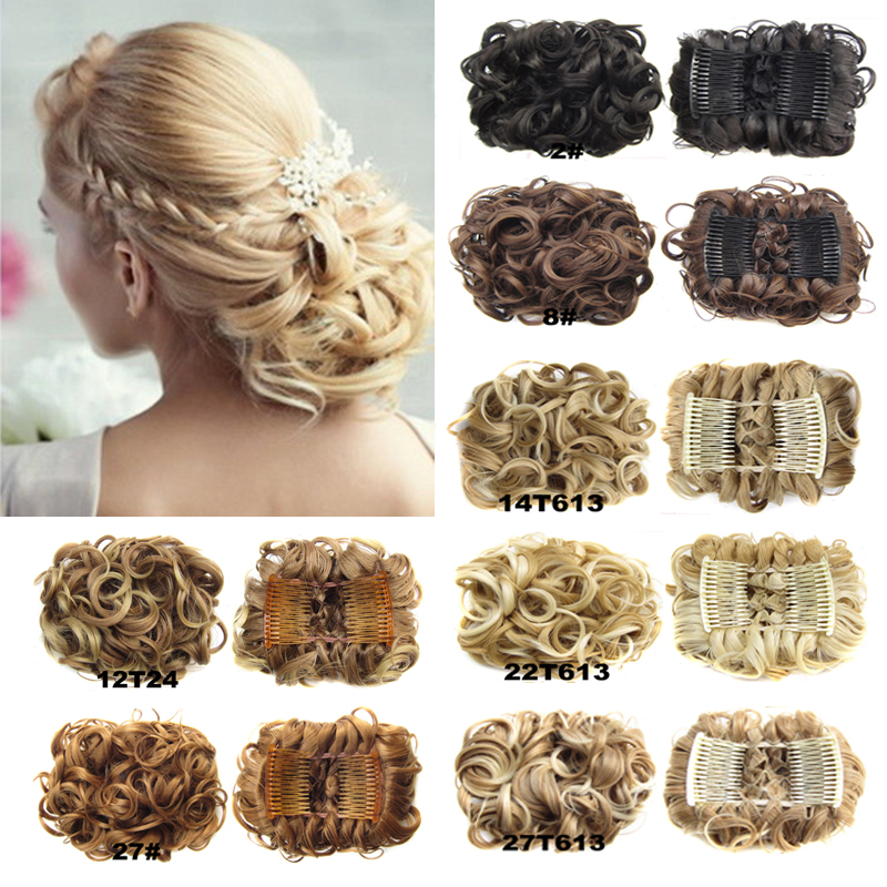Wavy Curly Synthetic Hair Chignon Bun,Combs easy clip to Hair Big Hair Bun with two Plastic Comb elastic net ,Black Brown Blonde