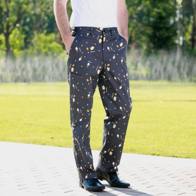 2015 New Printed Dessert Fashion Chef Pants chef service Kitchen Trouser pant frtee shipping(China (Mainland))