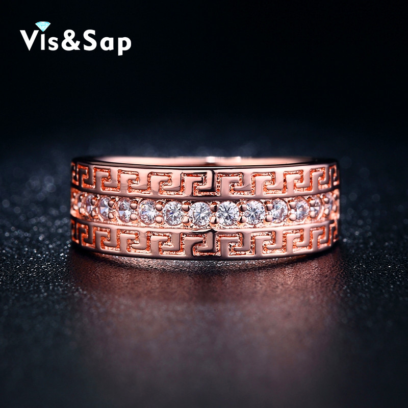 18k Rose Gold Plated Rings for women elegant Jewelry wholesale ring AAA cubic zircon luxury Accessories punk bands V18KR006(China (Mainland))