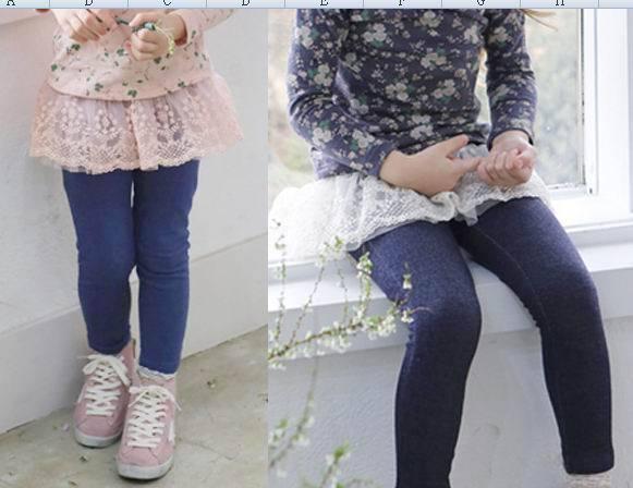 Pinkideal 2015 Autumn New Children Clothes Girl Legging Lace Pantskirts Princess Legging 2-7T 330619A(China (Mainland))