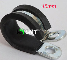 free shipping 50pcs/lots 45mm hose Insulated Clamps P-Clamp Silicon, Fuel Pipe, plastic type hose clamp with steel clamp(China (Mainland))