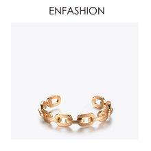 Enfashion czystej postaci średniej Link Chain mankietów bransoletki i Bangles dla kobiet złoty kolor moda biżuteria biżuteria Pulseiras BF182033(China)