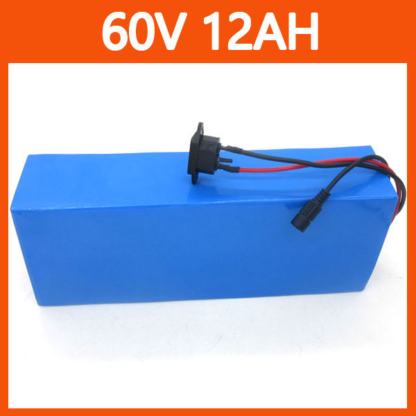 900W 60V 12AH Electric Bike Lithium Battery with PVC Case, 16S 15A BMS and 67.2V 2A Charger free shipping(China (Mainland))