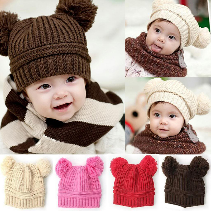 New Korean New Fashion Baby Girls Boys Kids Children Dual Ball Knit Sweater Cap Hats Winter Warm Knitted L03090(China (Mainland))