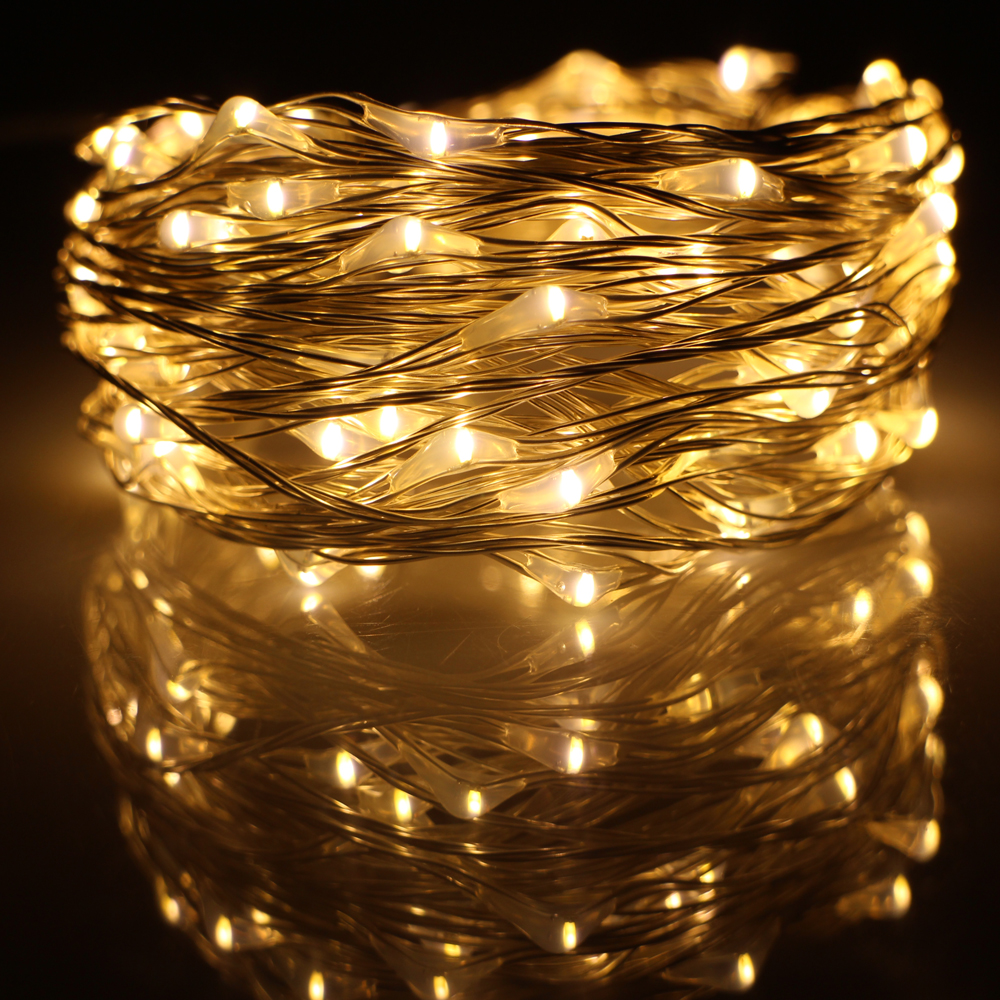 10M 33FT 100 led USB Outdoor Led Silver Wire String Lights Decoration Christmas Festival Wedding ...