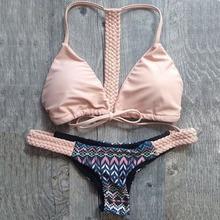 High Quality Sexy Women Ladies Knitting Bandage Bikini Set Triangle Swimwear Swimsuit S-XL Summer Beachwear(China (Mainland))