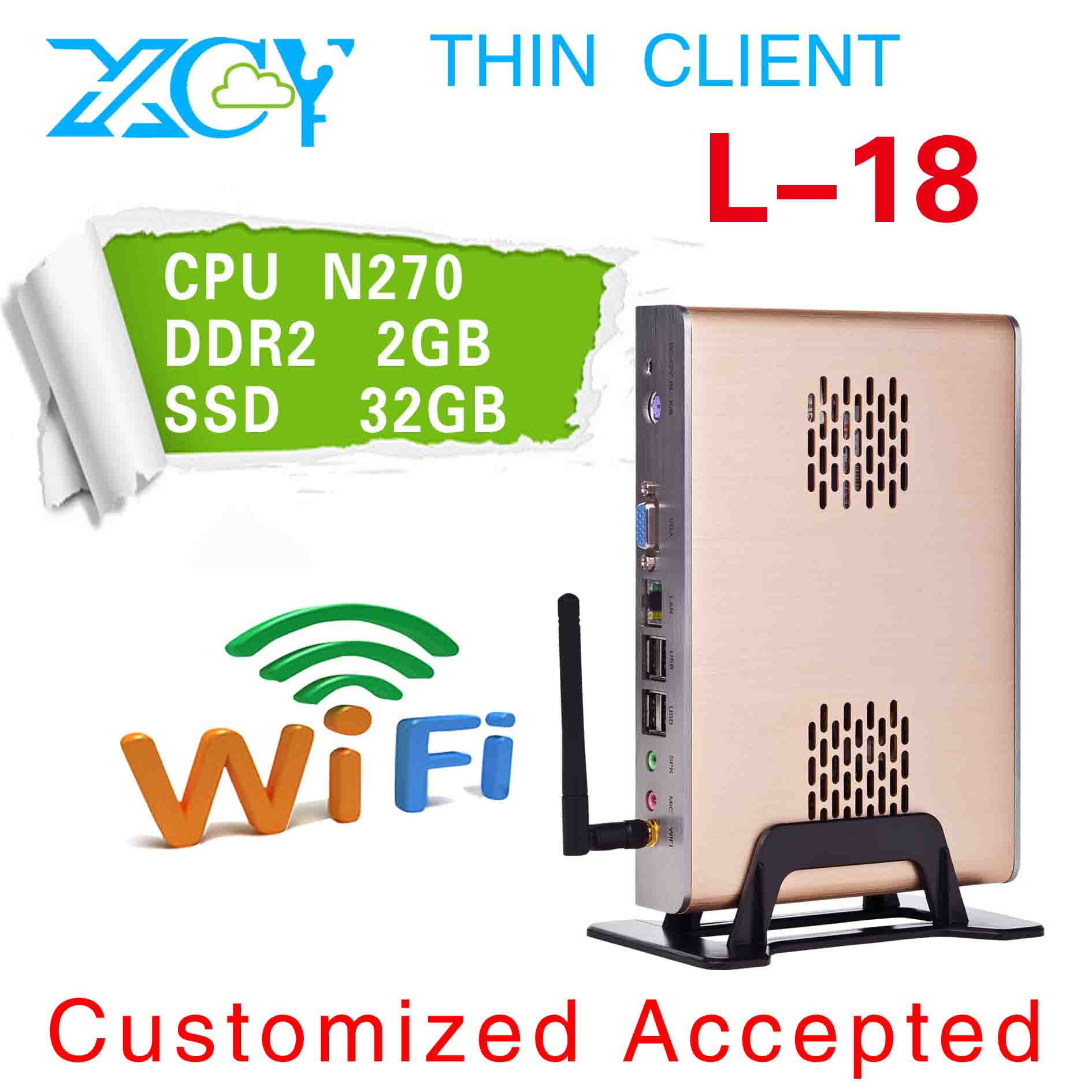 Embedded thin client, XCY L-18 fanless homebuilt computer, Intel atom N270 Gaming PC(China (Mainland))