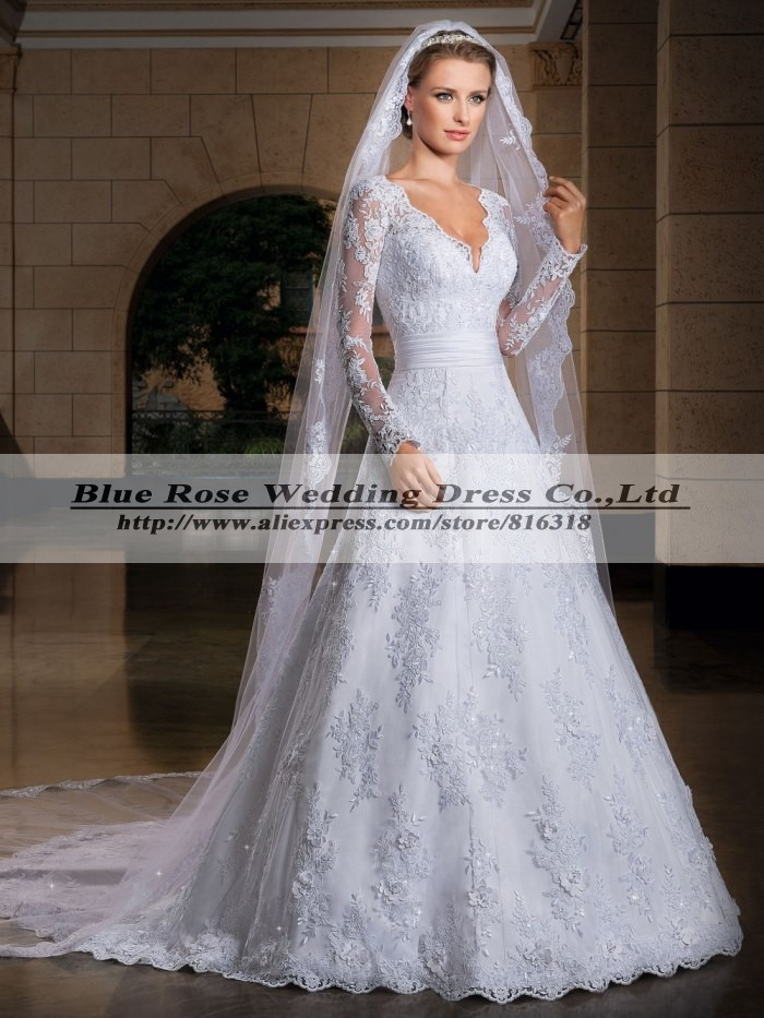 Long Sleeve Wedding Dresses Size 14 : Wedding dresses plus size long sleeve lace elegant