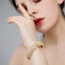 Blucome דובאי זהב צבע צמיד טבעת תכשיטי סט מבריק זירקון נחושת נשים חתונה משתה מסיבת יד אביזרי מתנות(China)