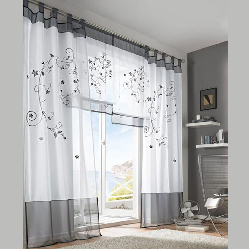 2016 tulle green grey purple blackout embroidery curtains for living rooms door curtain tab top
