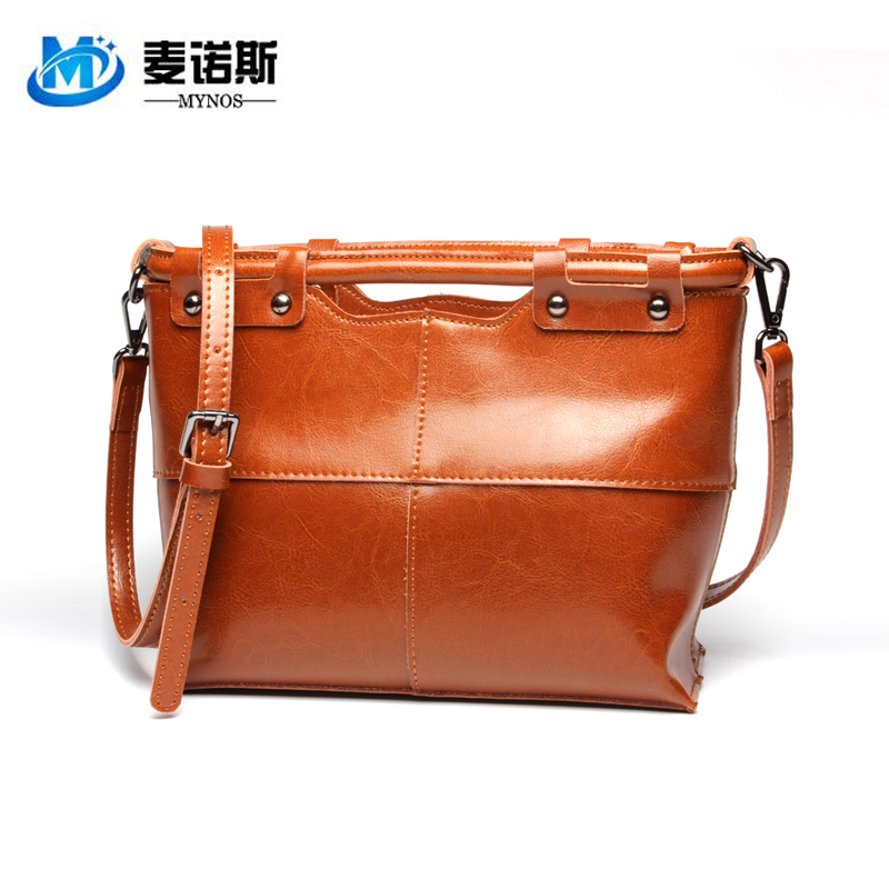 2015 New Fashion 100% Cowhide Genuine Leather Female Brand Vintage Totes Women SAC MAIN Zipper Handbags Crossbody Bags Ladies