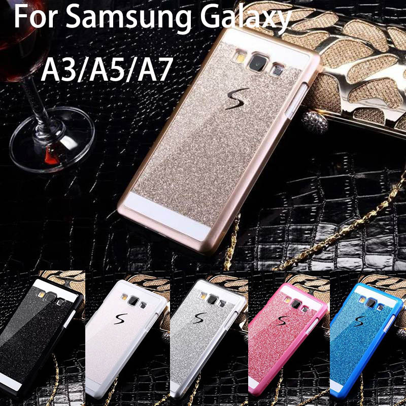 Bling Luxury phone case for Samsung Galaxy A3 A5 A7 Shinning back cover Sparkling case for Galaxy A3000 A5000 A700 Free Shipping(China (Mainland))